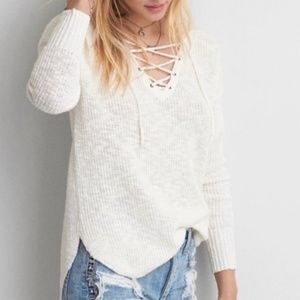 AMERICAN EAGLE WAFFLE KNIT STYLE LACE UP FRONT SWEATER OFF WHITE LARGE TUNIC